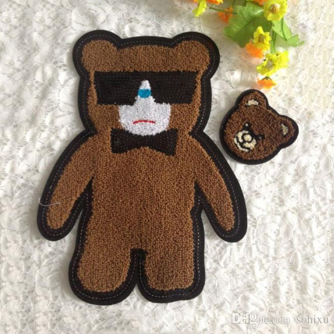 20pcs Bear Biker Badge Backing Towel Patch For Clothing Art Sewing Patches parches Embroidered Jacket Patchwork Applique Clothes Accessories