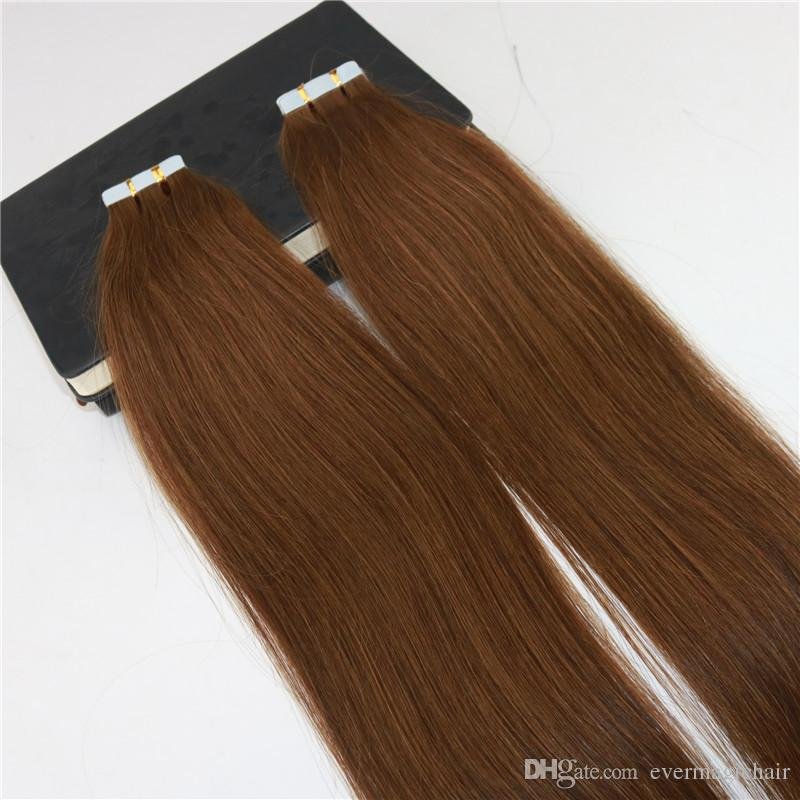 100% Remy Human Hair Seamless Tape In Hair Extensions #6 Medium Brown Slik Straight Invisiable Skin Weft Tape on Brazilian Hair Extensions