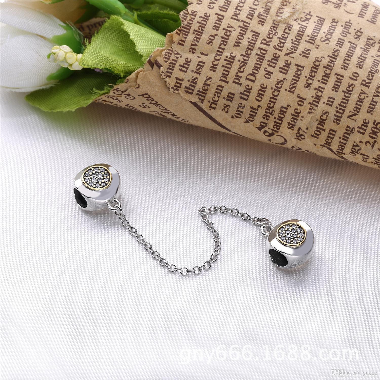 VENTE Fine bijoux Authentique En Argent Sterling 925 Pandora chaîne de sécurité Charm Bracelet Collier Diy Perles Trèfle pour Fille