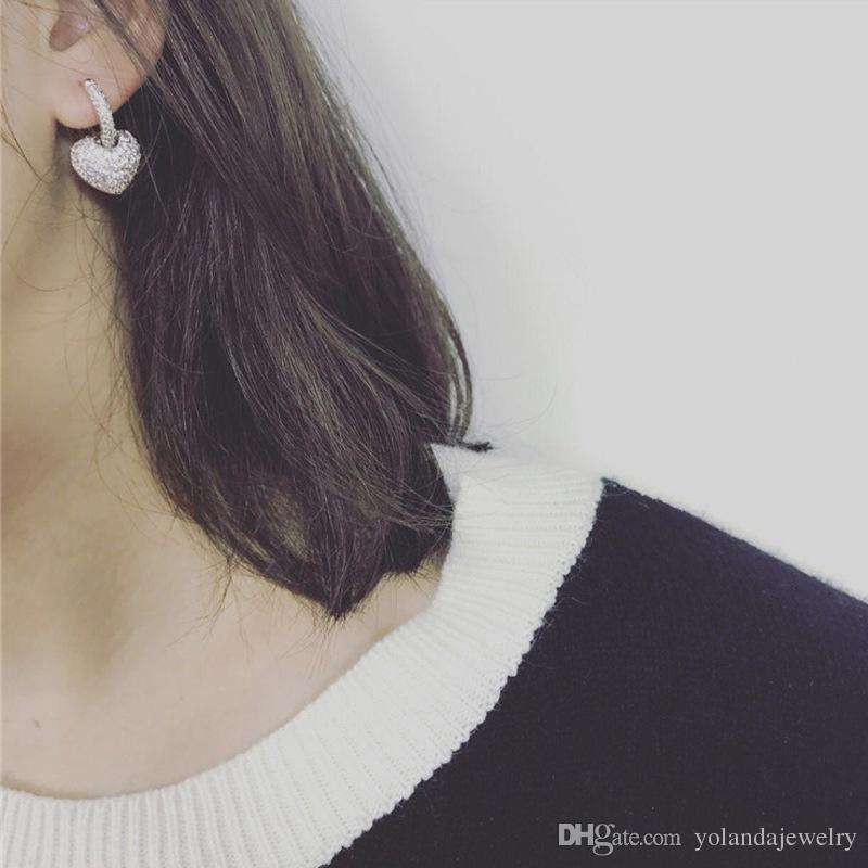 Bijoux de mariage de mariée Jeu de qualité supérieure rose blanche plaqué or sparky cz coeur boucles d'oreilles collier pour filles femmes pour mariage mariage