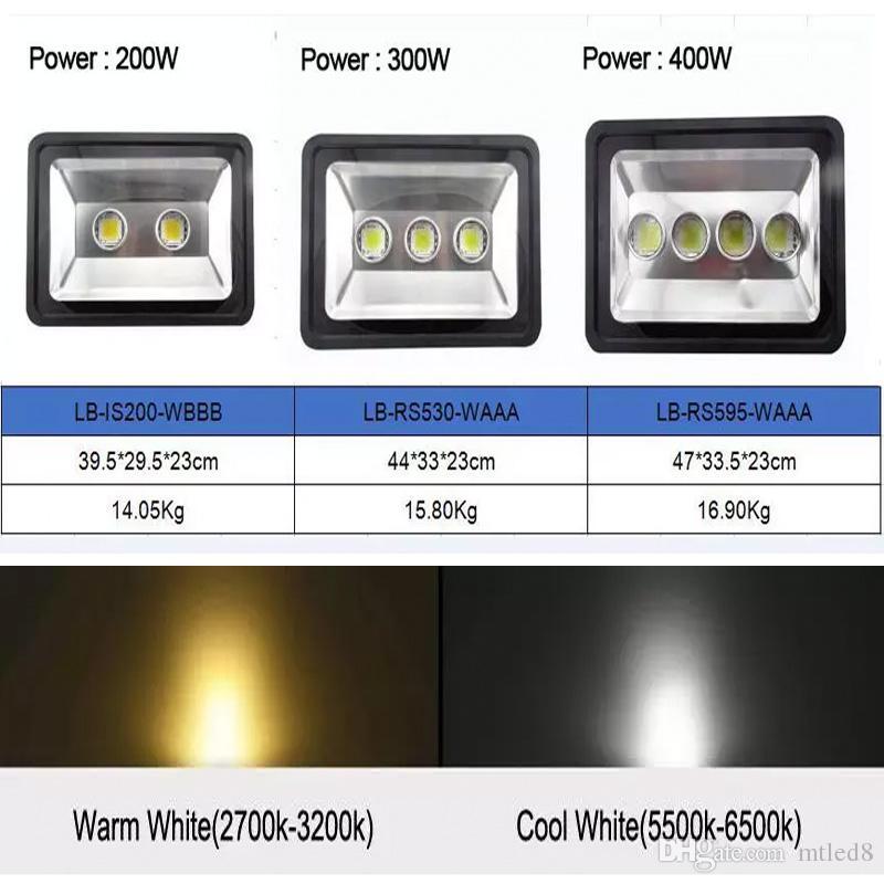 LED 200 W 300 W 400 W Holofote Ao Ar Livre CONDUZIU a luz de Inundação da lâmpada à prova d 'água LEVOU projeto lampTunnel luz AC 85-265 V CE ROHS
