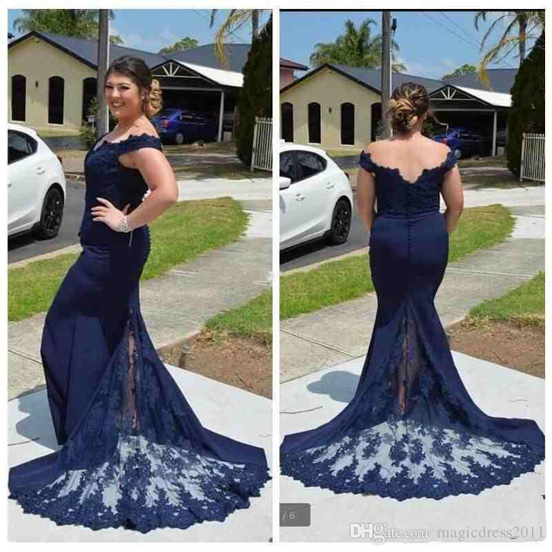 Modest 2018 Navy Blue Lace Evening Dresses Off The Shoulder Mermaid