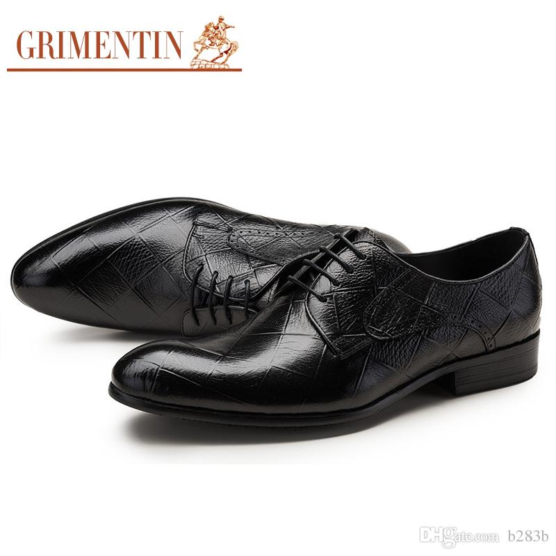 GRIMENTIN Genuine Leather Shoes For Men Black Brown Italy Luxury Fashion Business  Wedding Male Mens Shoes Sales Footwear Size 38 44 1SH263 Mens Leather ... d743e56397d