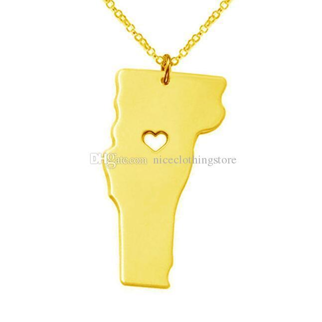 Collier en gros de mode en argent S925 Vermont State House, État sous forme de carte, colliers, collier personnalisé Vermont State avec un coeur