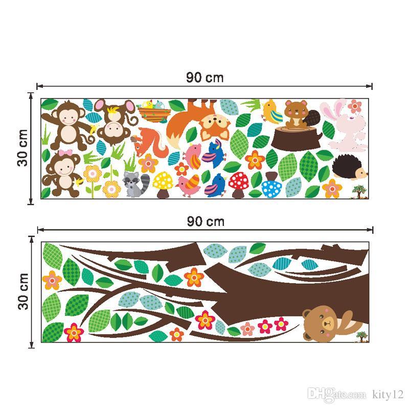 Dschungel Tiere Baum Affe Bär Removable Wall Decal Aufkleber Muraux Kinderzimmer Room Decor Wandaufkleber für Kinderzimmer