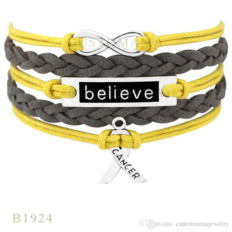 Custom-Infinity Love Believe Hope Ribbon Charm Wrap Bracelets Christmas Gifts Women Fashion Bracelets Yellow Orange Leather Bracelets