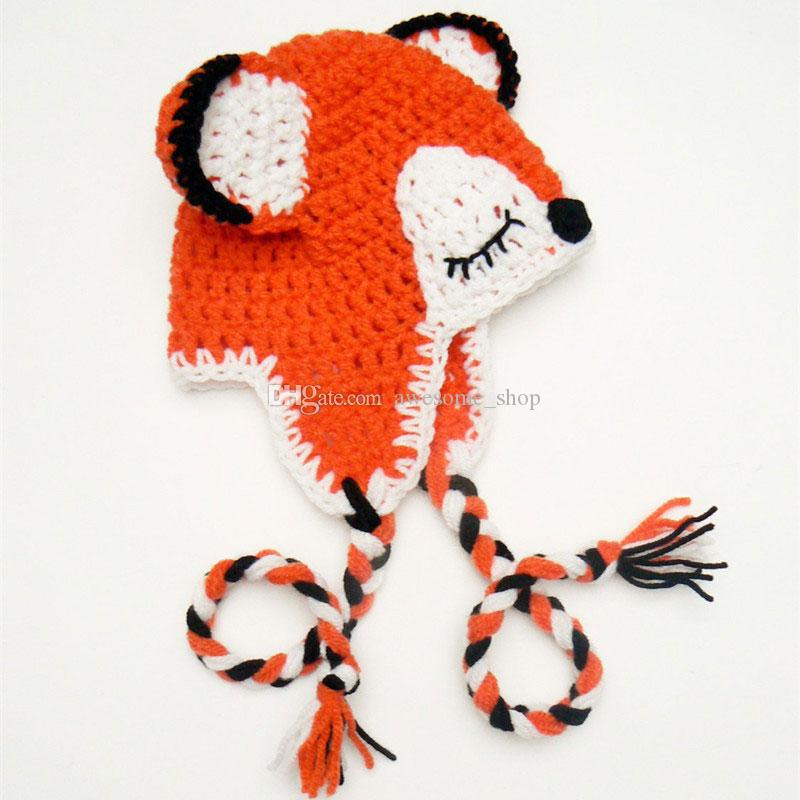 Adorable Orange Fox Hat,Handmade Knit Crochet Baby Boy Girl Animal Earflap Cap,Shower Gifts,Infant Toddler Photo Prop