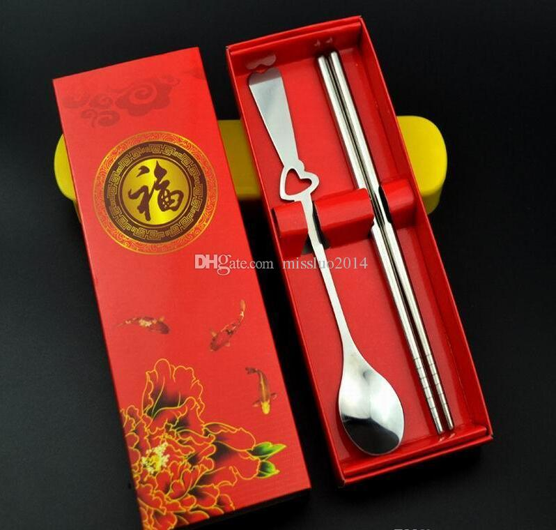 Wedding Favors Gifts Stainless-Steel Spoon and Chopsticks Set with Gift box packing DHL FEDEX UPS TNT fast shipping