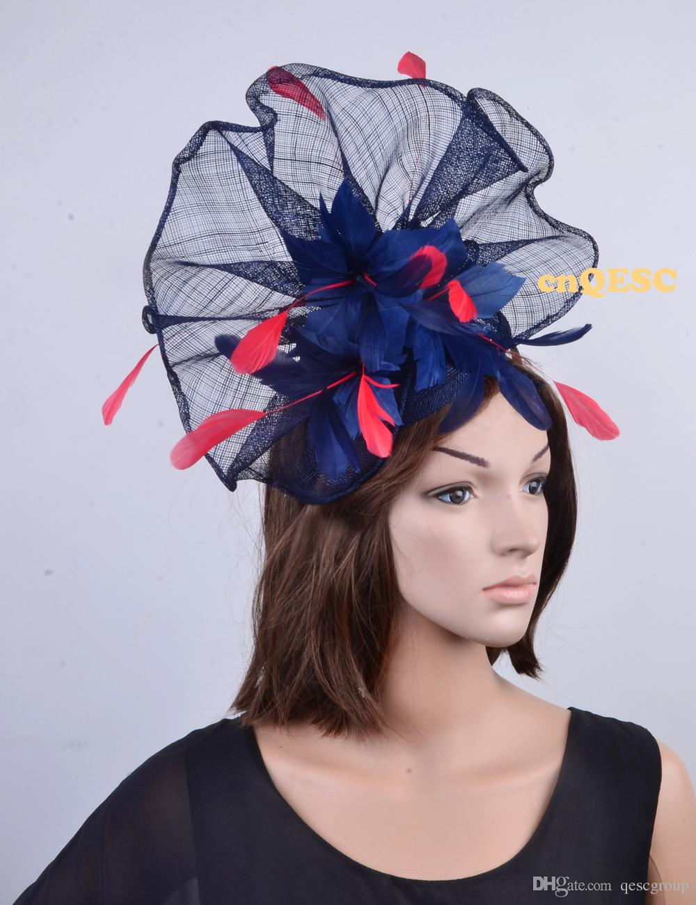 NEW colors Navy red Big Sinamay feather fascinator hat for kentucky derby,melbourne cup,ascot races,wedding party..