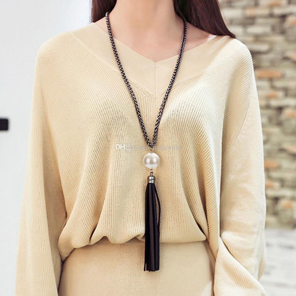 Wholesale 2017 New Long Tassel Pendant Sweater Chain White Big ...