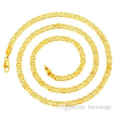 Hommes 18KGP estampillé or plat collier de chaîne de Mariner Anker Italie 5mm * 60cm