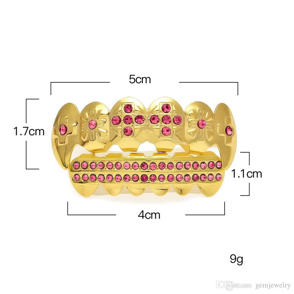 Позолоченные обледенелый розовый CZ горный хрусталь хип-хоп зубы для рта GRILLZ шапки Верхний Нижний гриль набор вампир зубы ювелирные изделия