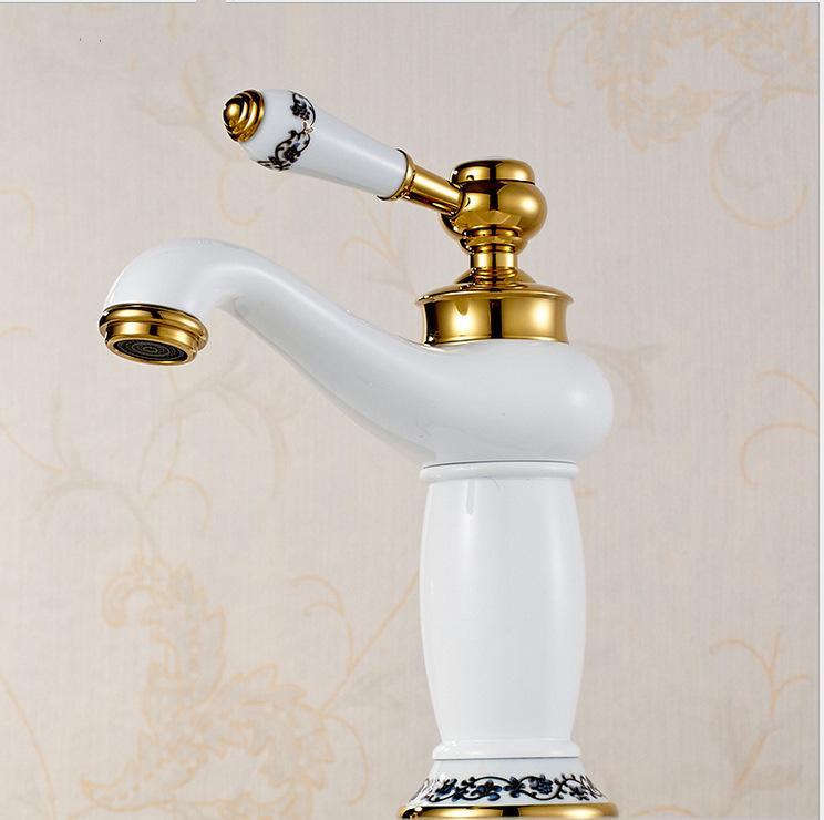 Wholesale White Color Golden Bathroom Faucet With Single Handle - Gold colored bathroom faucets