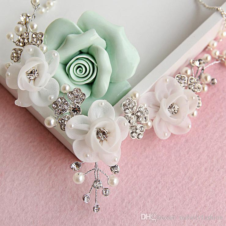 Chic Bridal Wedding Jewelry Sets Stunning Bridal Tulle Flowers Crystals Necklaces Earrings Sets Fashion Wedding Accessories H110