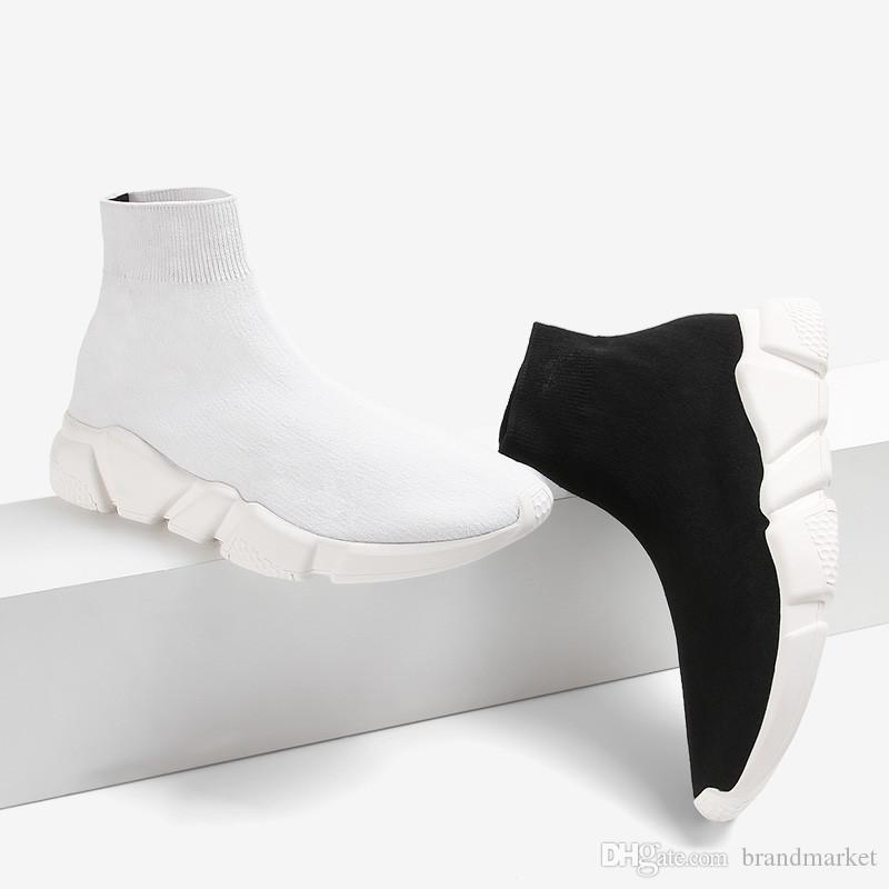 52594a43c45cc2 Acheter Bottes Double Box Chaussettes Noir Blanc Vitesse Entraîneur Femme Chaussure  Homme Bottes Décontractées Haute Qualité Tricot Haute Élevé Chaussures ...