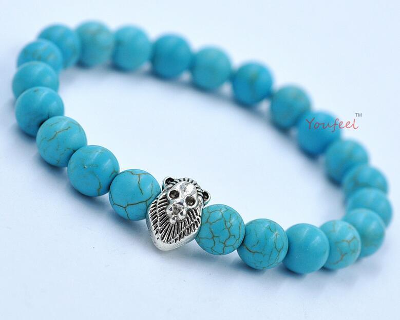 Bracciale con perle di agata naturale perline braccialetto diabolico transito Lionhead Giorno del Ringraziamento presente Bracciale con testa di leone turchese