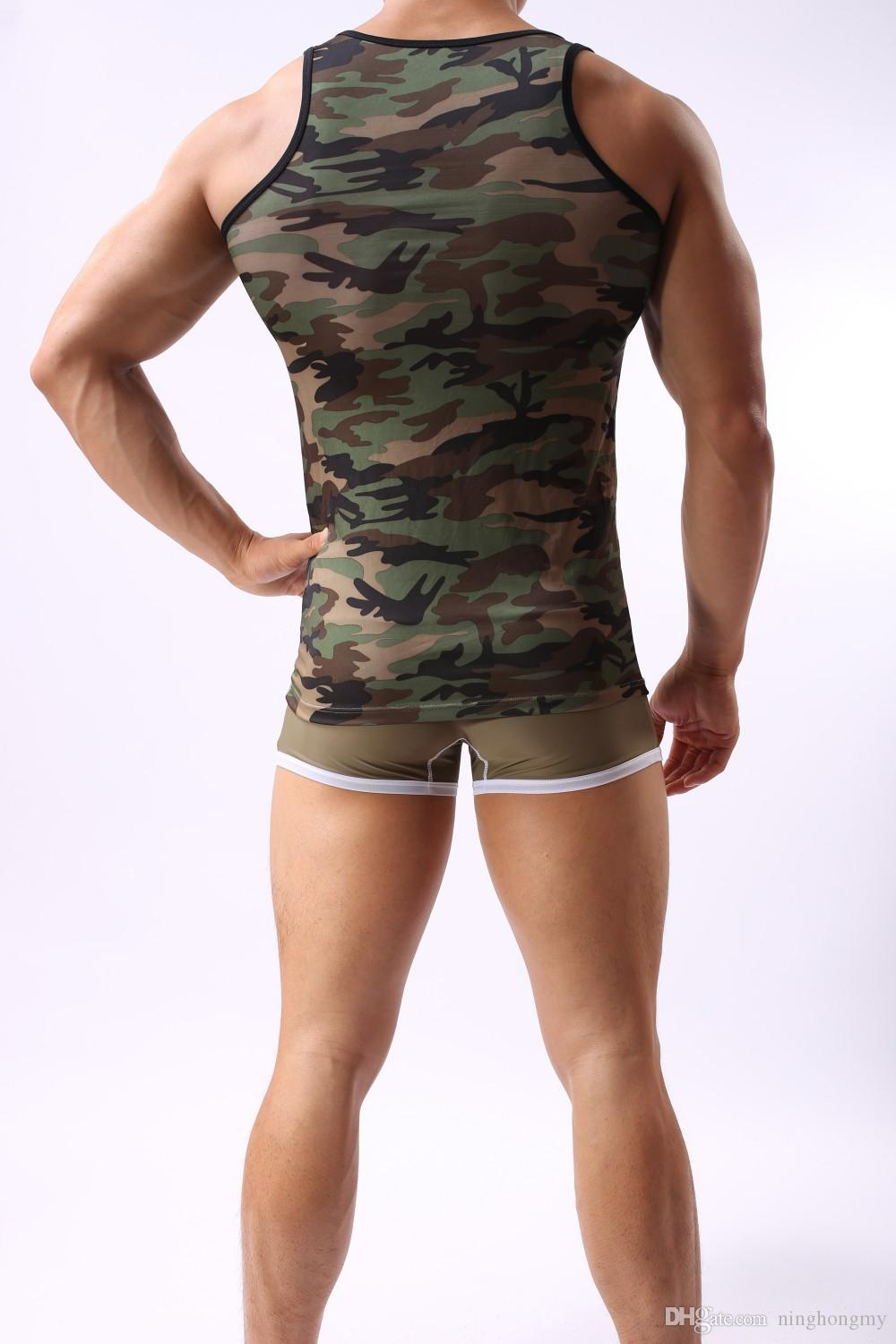 New Mens Vest Breathable sexy Clothes Man Military Camouflage Sleeveless Tank Tops Clothing Slim Singlet Tanks Muscle Shirt