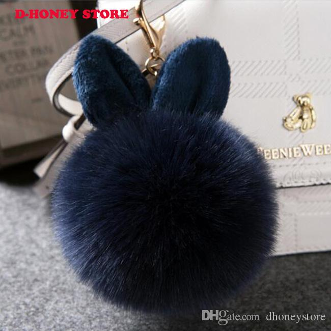 Rabbit Furs Ball Keychain pompom Pendant Bag Car Charm Key Cover Rings Plush Toy Doll Ears Fur Keychains Llavero Woman Key Chain