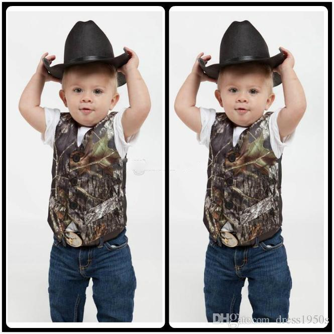 2018 Custom Camo Boy's Formal Wear Camouflage Real Tree Satin Vest Cheap Sale Only Vest For Wedding Kids Boy Formal Wear