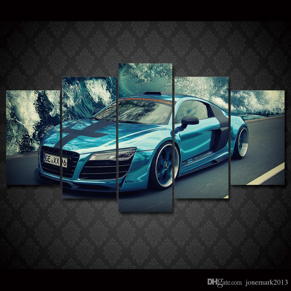 Framed HD Printed Blue car landscape Group Painting Canvas Print room decor print poster picture canvas /ny-544