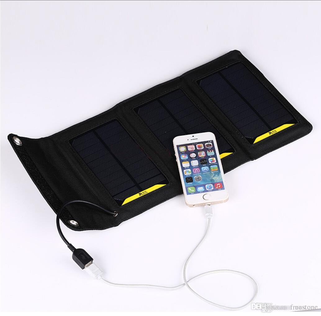 Outdoor-Stromversorgung 6W Hoher Effizienz Outdoor Folding Solar-Ladegerät-Tasche Solar-Panel-Ladegerät für Mobilephone-Power Bank MP3 / 4 Kostenloses Schiff.