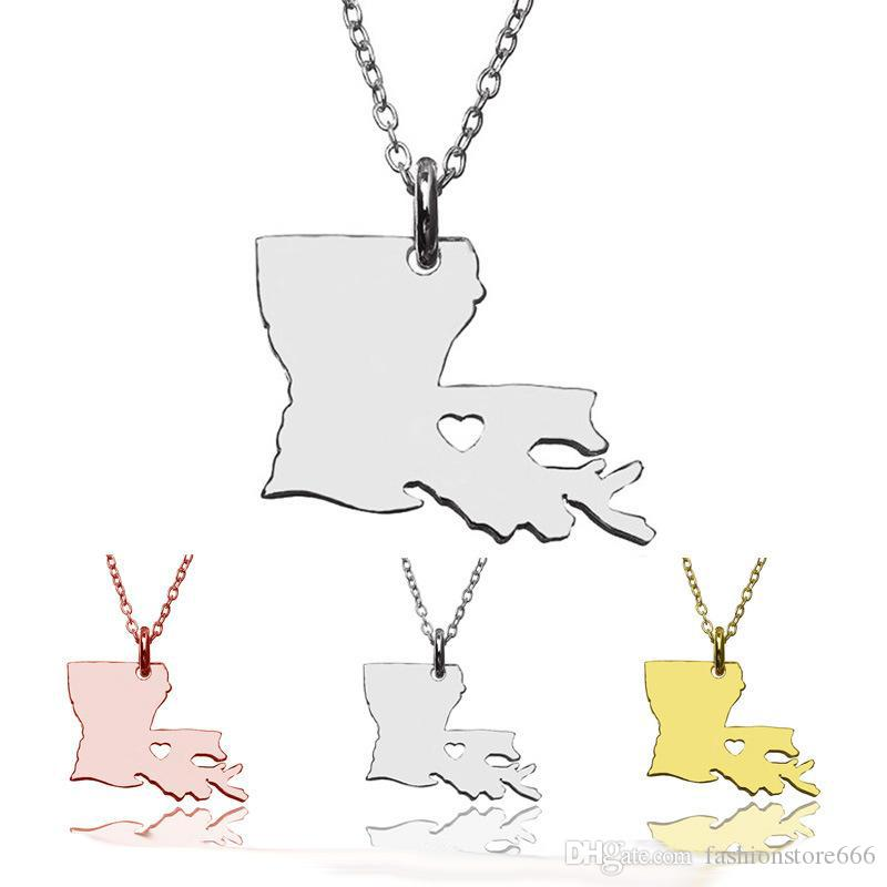 2017 New America 50 State Map Pendant Necklaces With Heart DIY State Pendent & Necklace Stainless Steel Fashion Jewelry New York State
