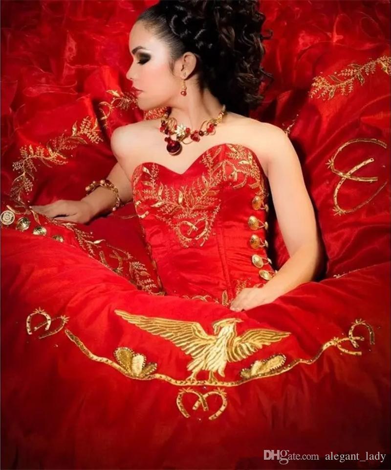 아가씨 붉은 자수 공 가운 Quinceanera 드레스 새틴 레이스 위로 바닥 길이 vestido de festa vestidos de quinceñera sweet 16 dress