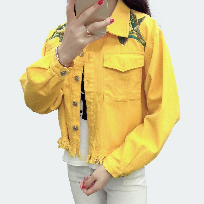 cd85c19f4 Spring Short Jacket 2017 Women Denim Jackets For Girls Pink Jeans Long  Sleeve Loose Embroidery Floral Ladies Short Coats XL Ladies Leather Coats  Italian ...