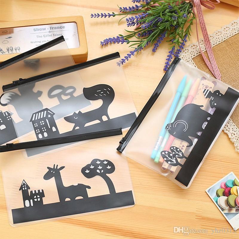 Bolsas de papel mate de dibujos animados transparente Bolsas de lápices de animales Caja Caja de la pluma de la escuela creativa Papelería coreana Caneta Tinteiro