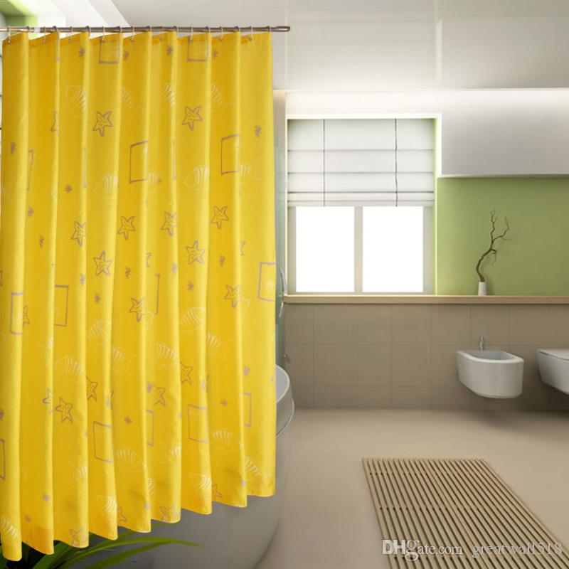 Waterproof Shower Curtain 100% Polyester mildew thick Bathroom Curtains yellow star Pattern with Hooks Free print wholesale LJ010