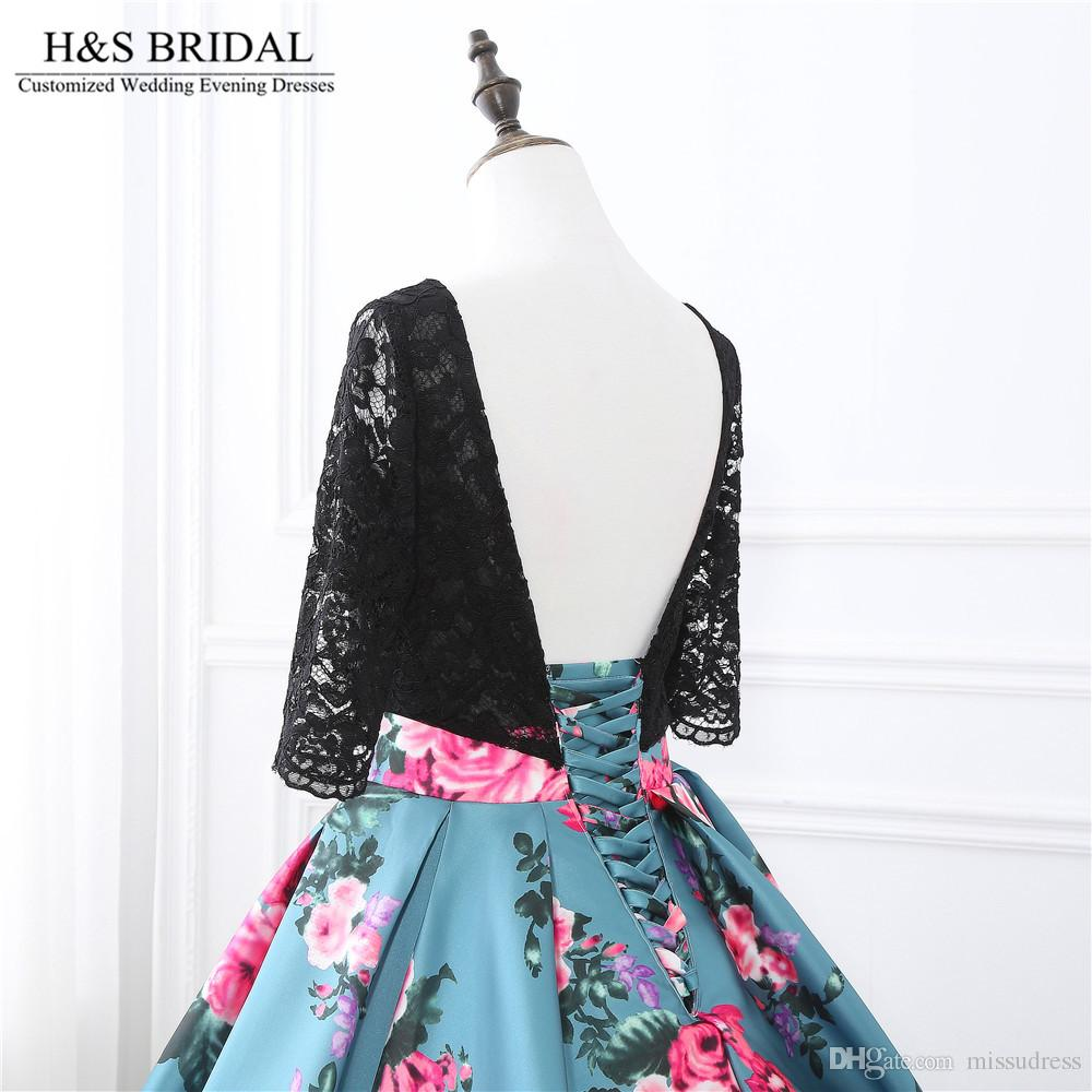 Printed Fabric Ball Gown Prom Dresses Lace Up Evening Dresses Top Lace Long Sleeve evening gowns