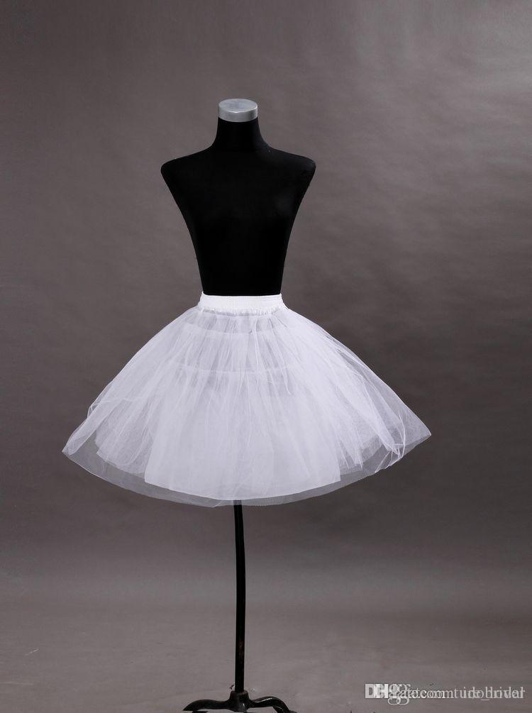 Mulheres baratos A linha de anágua curto para vestidos de casamento do baile de finalistas de tule Crinoline Mini Underskirt para festa Cocktail branco preto ruffle Panniers