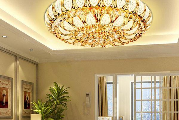 New Modern Luxury Crystal Ceiling Light Pendant Lamp Gold Fixture Lighting Led Dimmer Living Room Bedroom Restaurant Bronze Chandelier