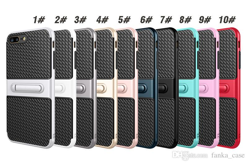 Caso Kickstand Defender Samsung S8 S8PLUS S7 Caso iPhone 7 Caso iPhone 6s TPU + PC 2in1 Hybrid Bracket Amor