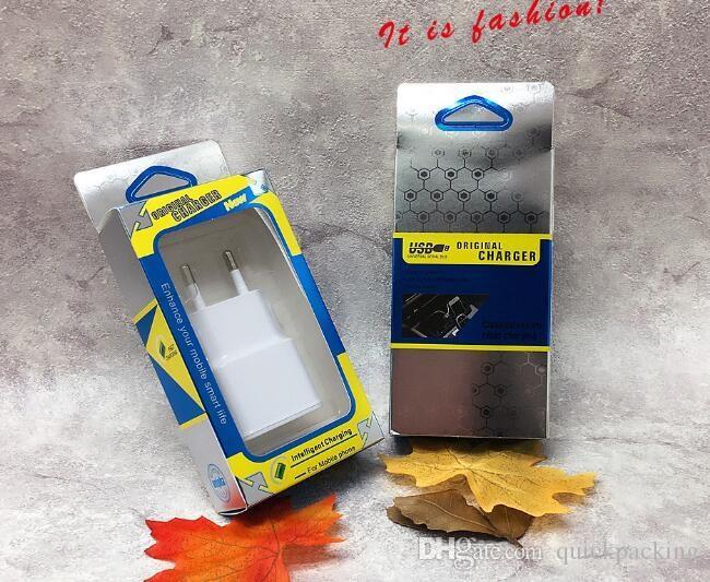 Cargador de viaje de pared USB vacío Caja de cajas de paquete al por menor Blister + tarjeta de papel para el iphone 5S SE 6S 7 Plus Samsung S8 Plus OEM