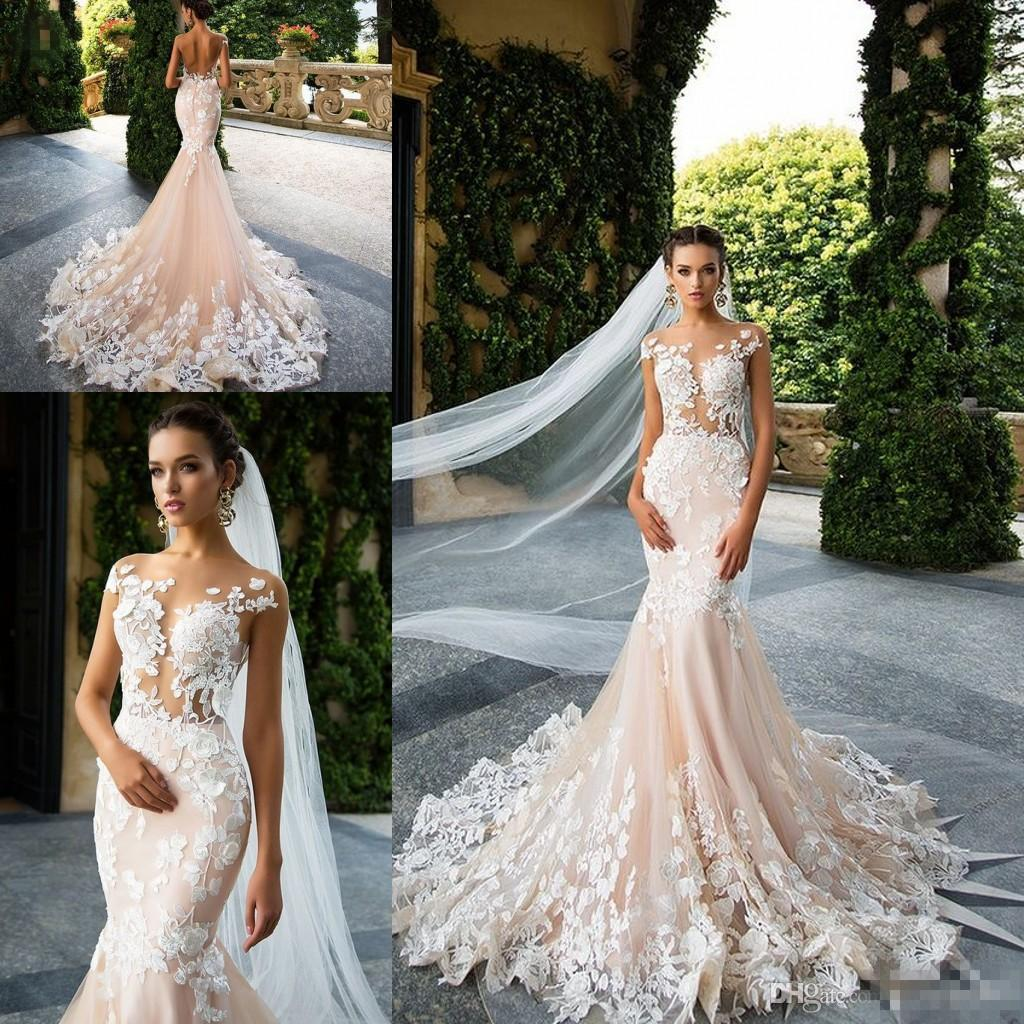 Milla Nova 2017 Vintage Blush Mermaid Country Wedding Dresses Lace Floral Sheer Neck Short Sleeve Trumpet Modest Boho Beach Bridal Gowns Taffeta: Blush Wedding Dresses Vintage Mermaid At Reisefeber.org
