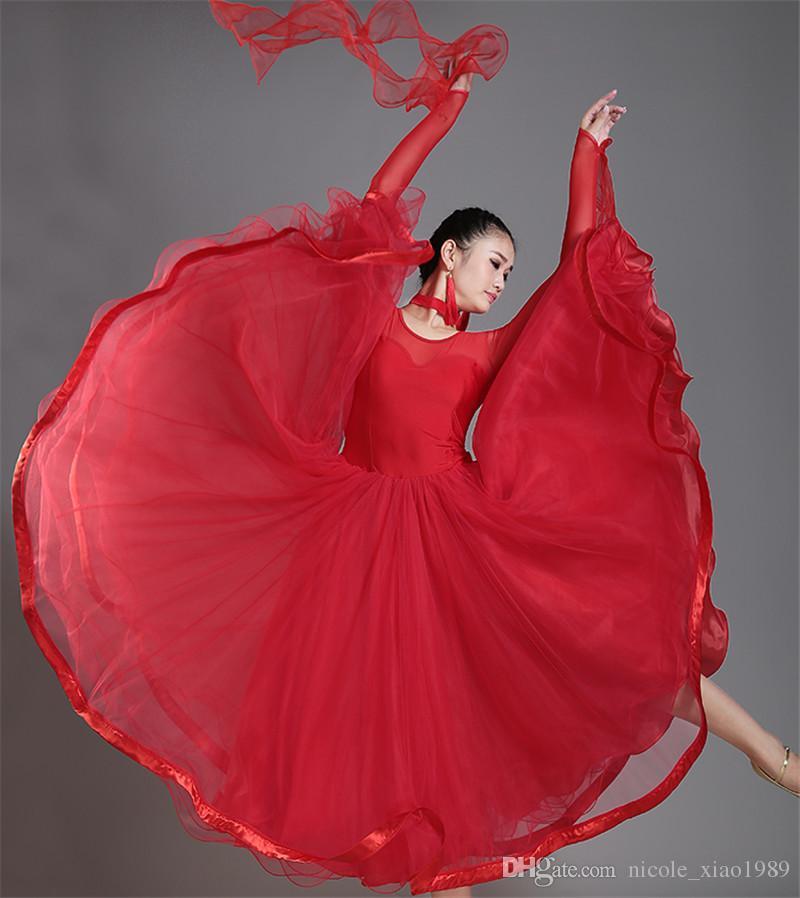 New Adult Ballroom Dance Dress Modern Waltz Standard Competition Dance Dress Sexy Round Neck Long Sleeve Dress S-2XL 004