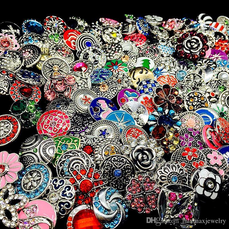 الجملة 100 قطعة / الوحدة مزيج الكثير بالجملة أنماط الزنجبيل الأزياء 18 ملليمتر معدن حجر الراين diy الطقات زر المفاجئة مجوهرات العلامة التجارية الجديدة