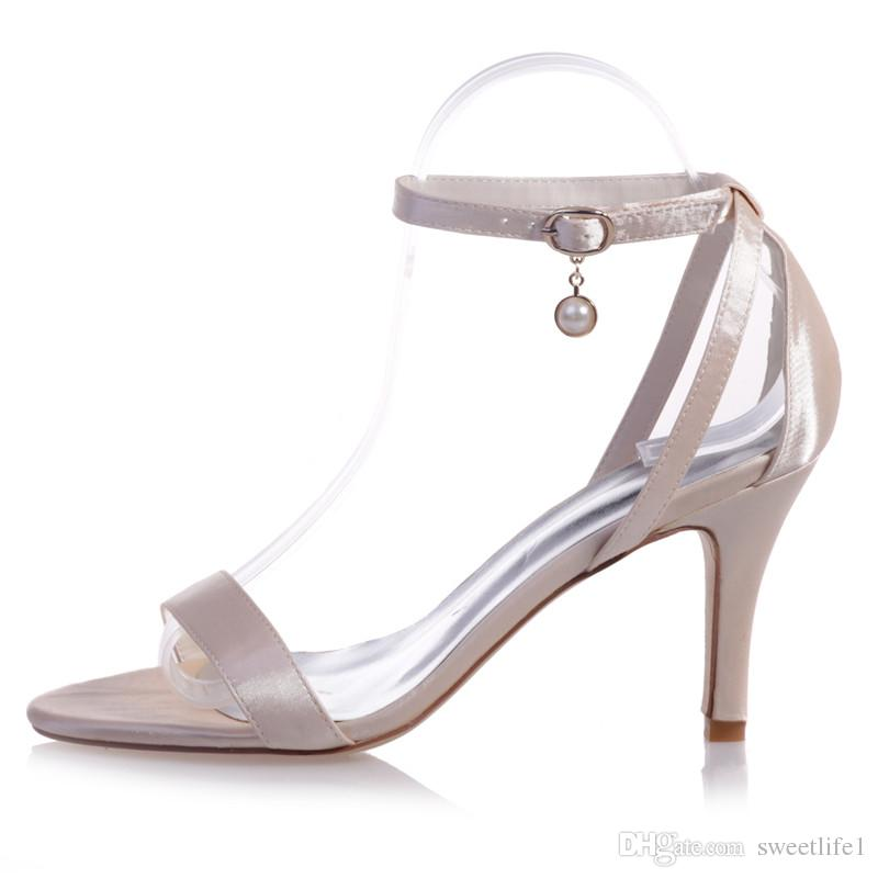 Clearbridal Women's Satin Wedding Bridal Shoes Buckle Open Toe Pumps Heels Evening Prom Sandal with Pearls ZXF9920-04