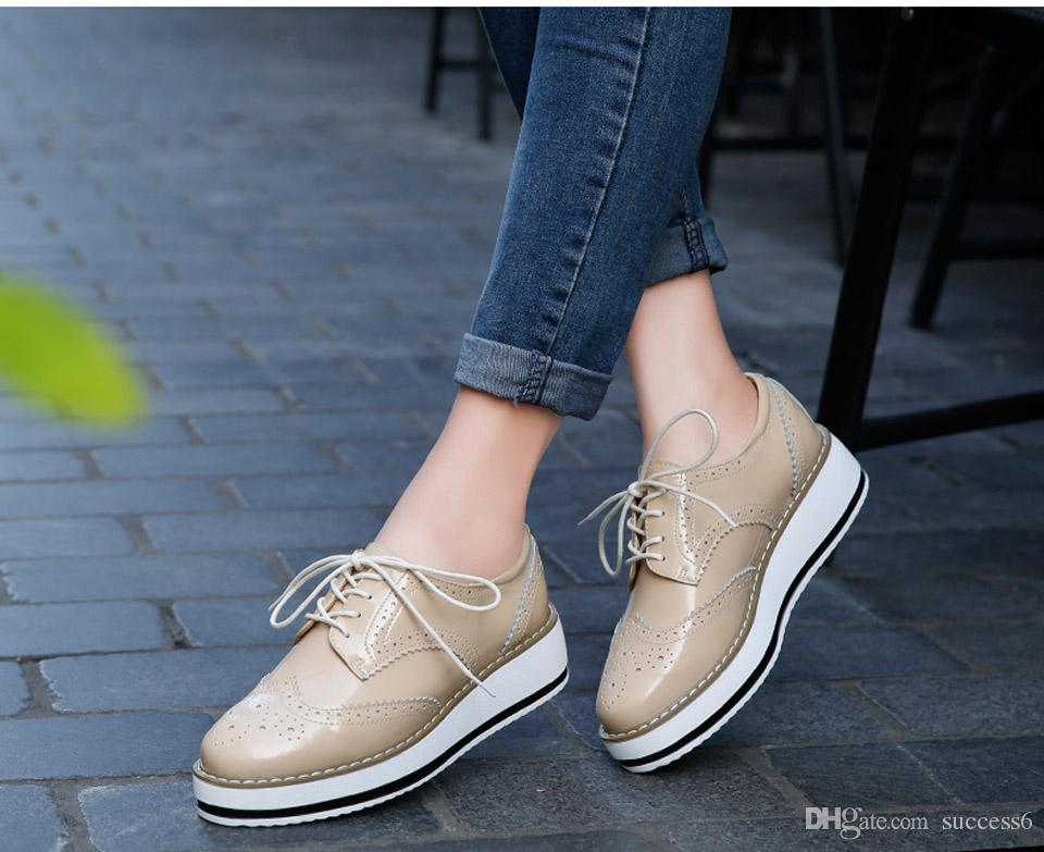 cb7d0f66b57 Brand Spring Women Platform Shoes Woman Brogue Patent Leather Flats Lace Up  Footwear Female Flat Oxford Shoes For Women Buy Shoes Online Slip On Shoes  From ...