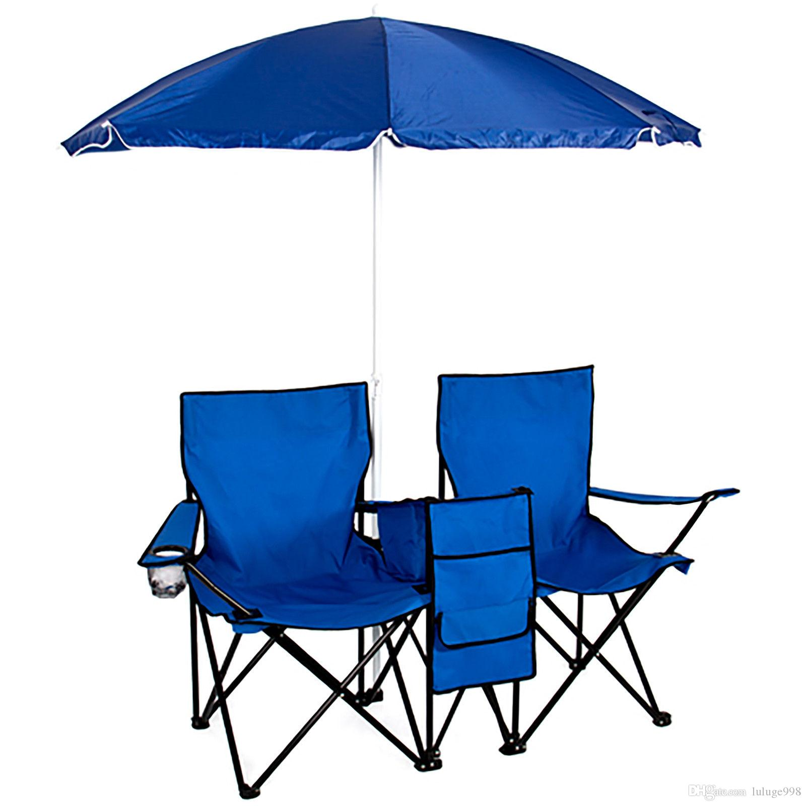 2020 Picnic Double Folding Chair W Umbrella Table Cooler