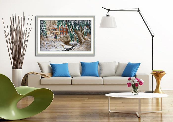 Natale paesaggio innevato, fai-da-te fatto a mano punto croce ricamo set Ricamo dipinti contati stampati su tela DMC 14CT / 11CT