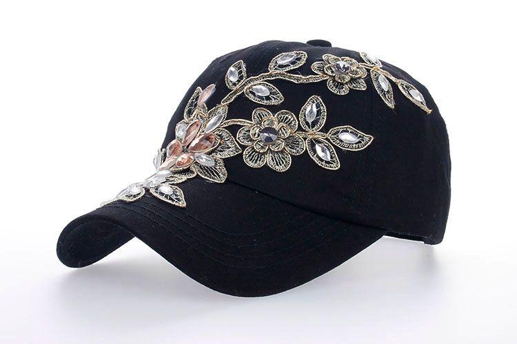 Women Variety Rhinestone  Crystal Shining Studded Cotton Denim Visor ... 3385fb2656e