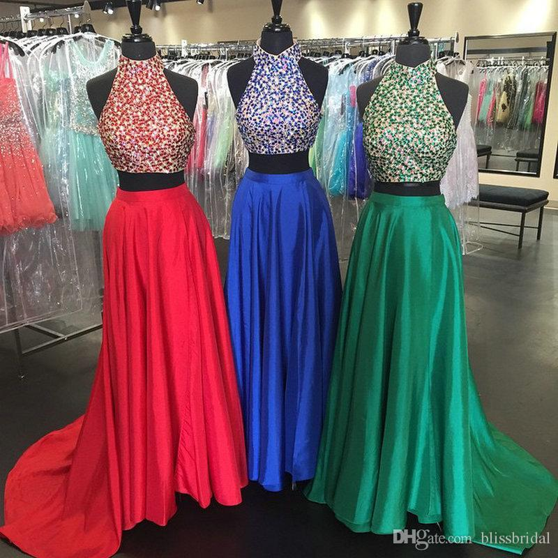 Goddess High Neck Dark Green Prom Dress Two Piece Beading Lace Top and Satin Lower Long Evening Gowns Backless Formal Party Dress