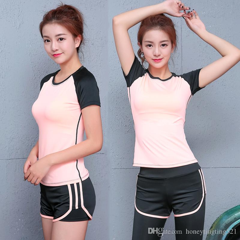 European fashion women's new summer sports yoga tracksuit padded bustier t-shirt and shorts leggings gym fitness running suit
