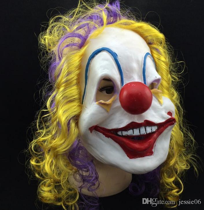 Scary Clown Maske Erwachsene Halloween Böse Killer Kostüm Horror Jolly Latex Haar Vollgesichtsmasken Party Kostüm Cosplay Zubehör