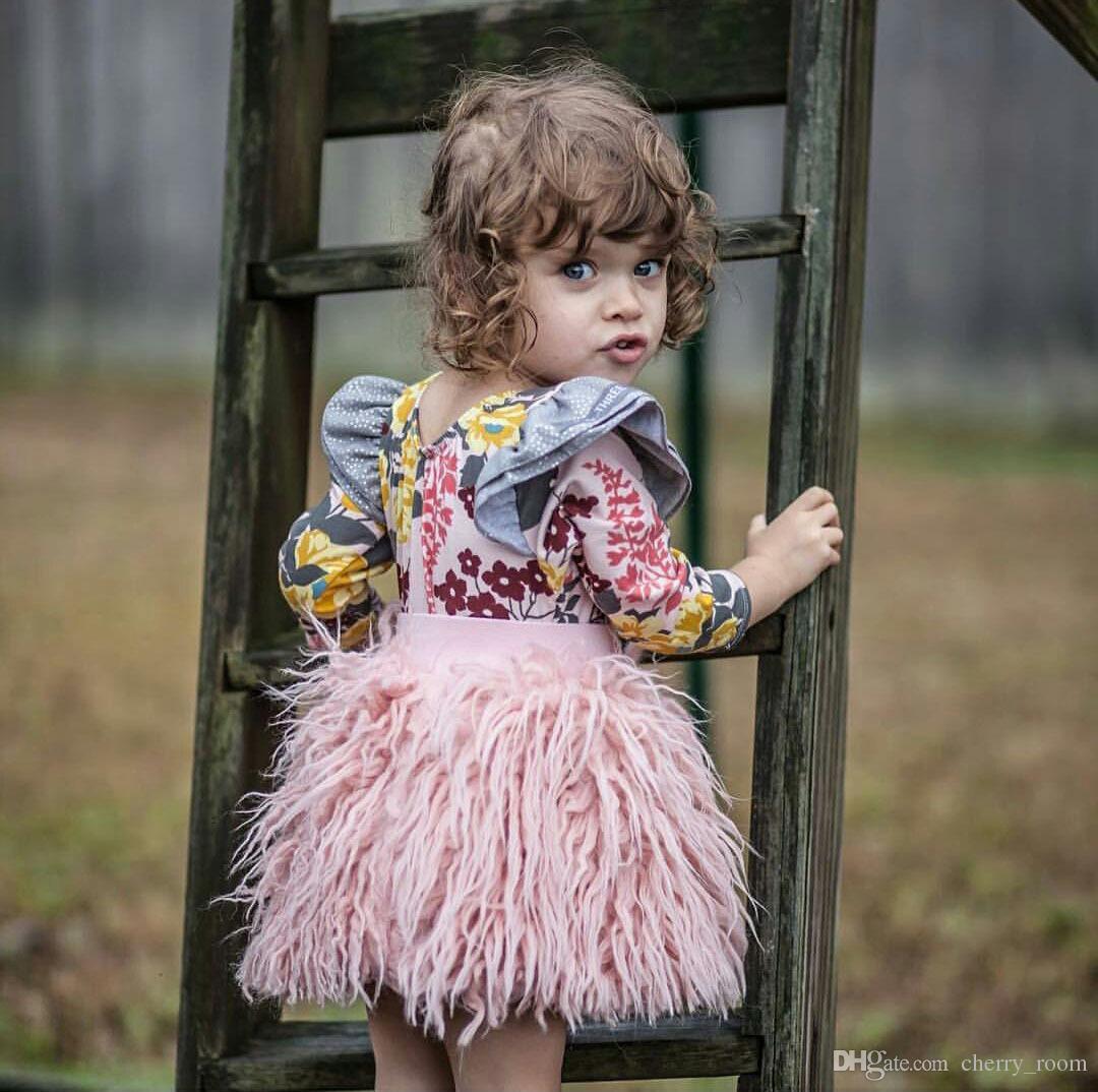 INS Baby Girls Skirts New Fleecy Autumn Children Tutu Skirt Sweet Kids Mini Skirts Fashion Girl Boutique Clothing C1880