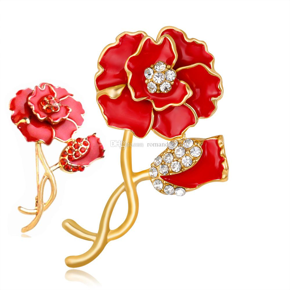 Red Enamel Flower Brooch Female Cheap Crystal Poppy Broches Wedding