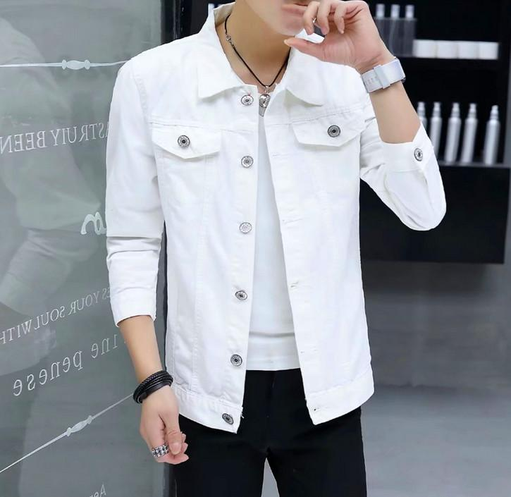 a69bdd9a352 Europe And The United States New White Denim Jacket Short Section Of The  Long Sleeve Lapel Men Jacket Denim Jacket Jackets For Men From  Ay2505219426