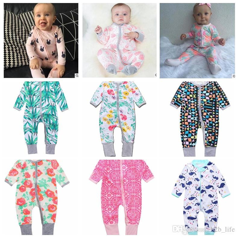 0ca7c1077cc9 2019 INS Baby Boys Girls Flower Zipper Romper Toddler Floral Dot Jumpsuits  Infant Cotton Long Sleeve Spring Autumn Suits KKA2417 From B2b life